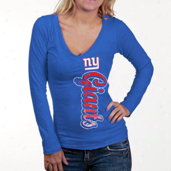 Repaired York Giants Tshirts : New York Giants Ladies Royal Blue Up And Down Slub V-neck Long Sleeve Tshiirts