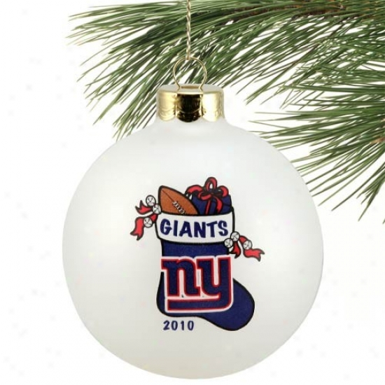 New York Giants White 2010 Collectors Series 3 1/4'' Stocking Ornament