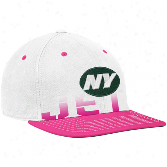 New York Jet Merchandise: Reebok New York Jet White-pink Breast Cancer Awareness Flat Brim Flex Hat
