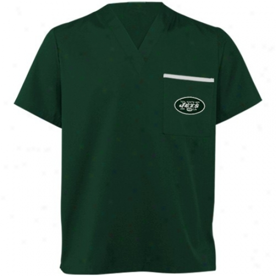 New York Jet Tees : New York Jet Green Scrub Top