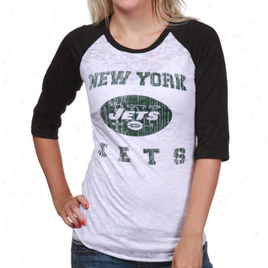 New York Jet Tshirt : Reebok New York Jet White-black Huddle Up Raglan Burnout 1/2 Sleeve Tshirt