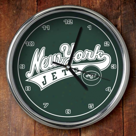 New York Jets 12'' Chrome Clocck