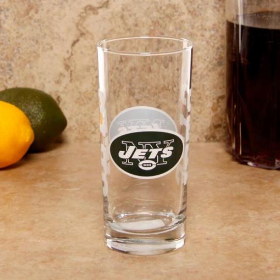 New York Jets 15oz. Satin Etvhed Glass