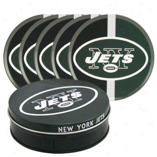 New York Jets 5-pack Coasters With Metal Tin