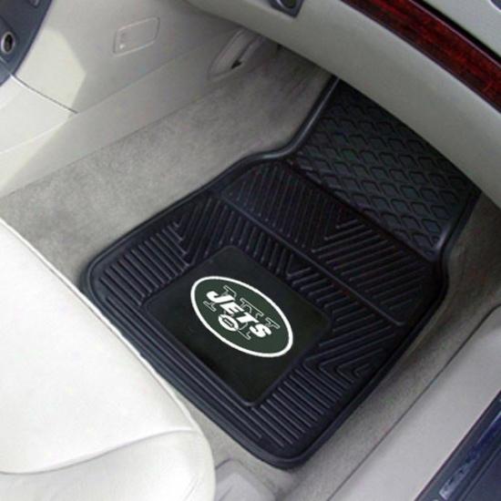New York Jets Black 2-piece Vinyl Car Mat Set