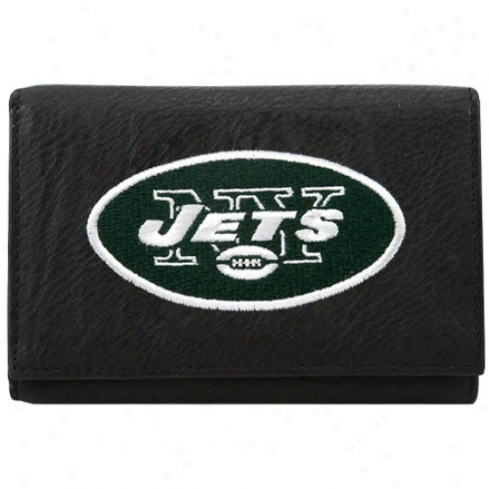 New Yrok Jets Black Embroidered Leather Trkfold Wallet