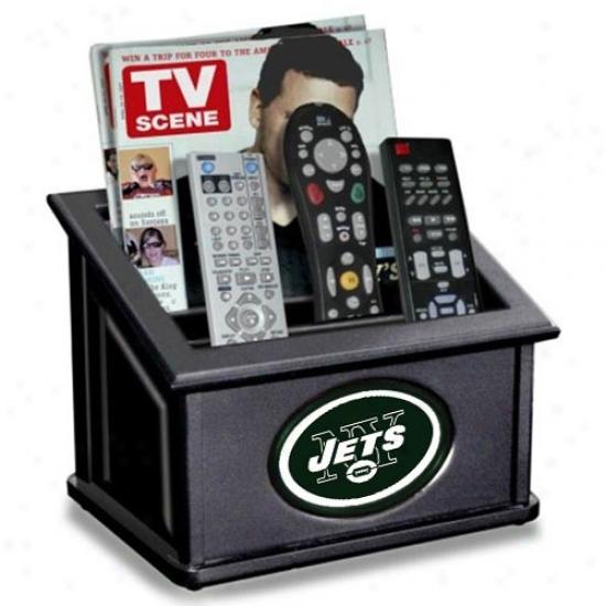 New York Jets Black Wooden Team Logo Media Organizer