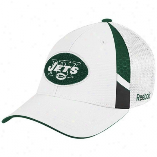New York Jets Caps : Reebok New York Jet Youth White  Draft Day Flex Fit Caps