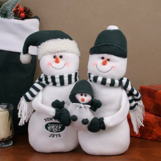 New York Jets Decora5ive Table Top Snowman Family Figurine