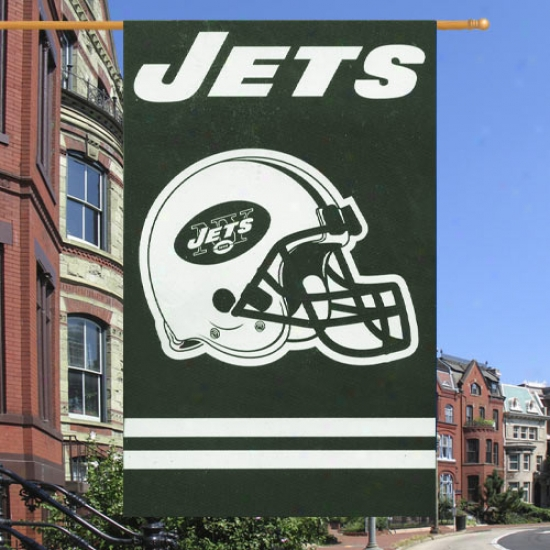 """new York Jets Flag : New York Jets Reward Quality 44""""x28"""" Applique Flag"""