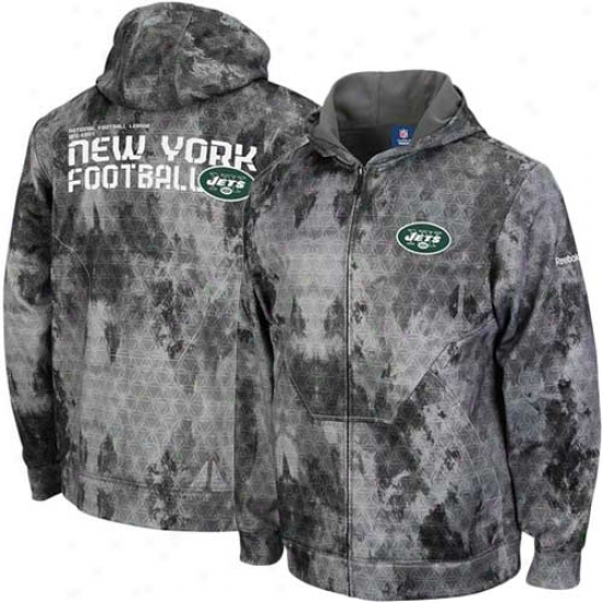 New York Jets Fleece : Reebok New York Jets Graay Camo Sideline United Digital Print Full Zip Fleece