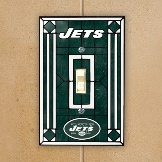 New York Jets Green Art-glass Switch Plate Cover