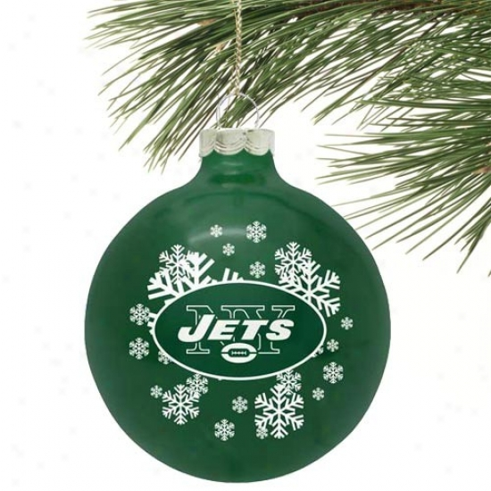 New York Jets Green Snowflake Glass Ornsment