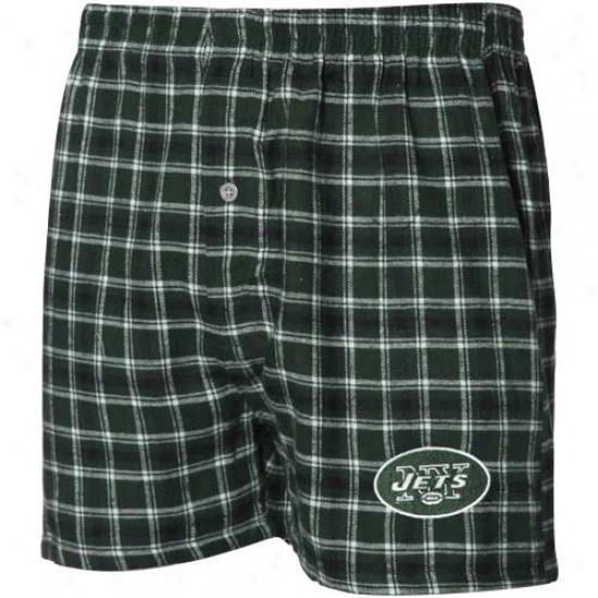 New York Jets Green-white Plaid Match-up Flannel Boxer Shorts
