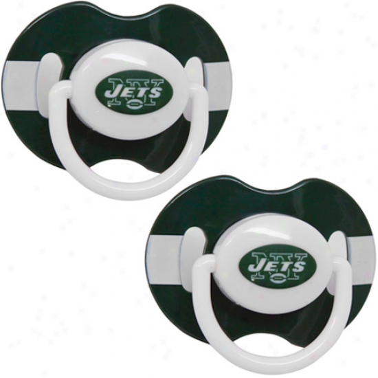 New York Jets G5een-white Striped 2-pack Team Logo Pacifiers