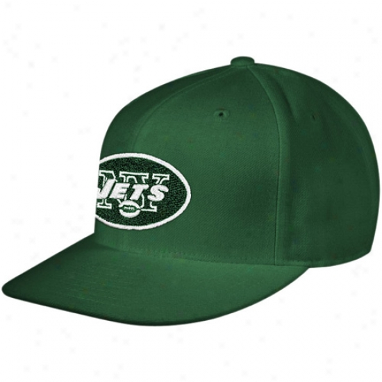 New York Jets Hats : Reebok New York Jets Green Embroidered Fitted Hats