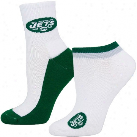 New Yotk Jets Ladies White-green Two-pack Socks