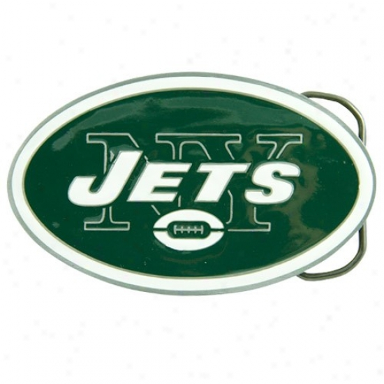 Ndw York Jets Pewter Team Logo Belt Buckle