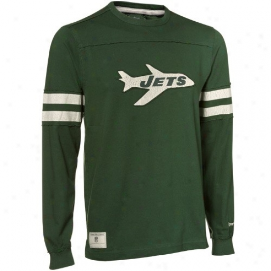 New York Jets Shirt : Reebok New York Jets Green Distrsesed Throwback Applique Premium Long Sleeve Shirt