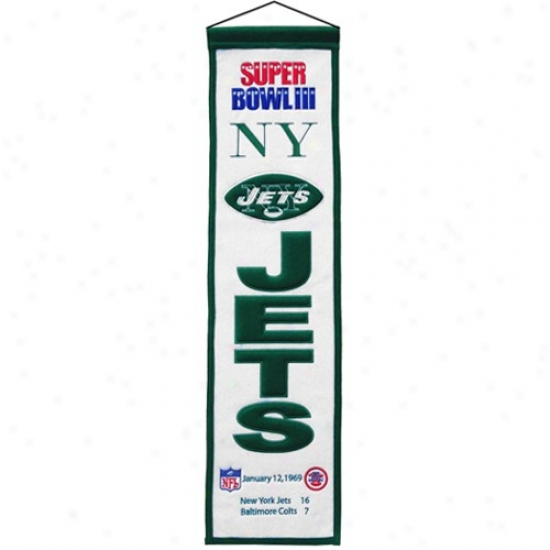 New York Jetq Super Bowl Iui Champions White Heritage Banner