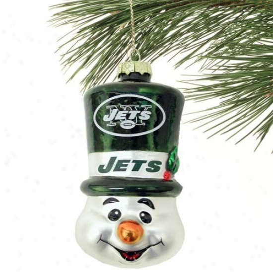 New York Jets Top Hat Snowman Blown Glass Ornament