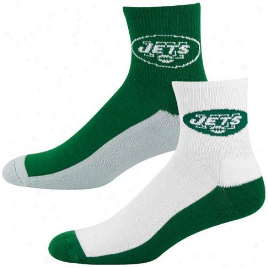 New York Jets Tri-color Two-pack Quarter Socks