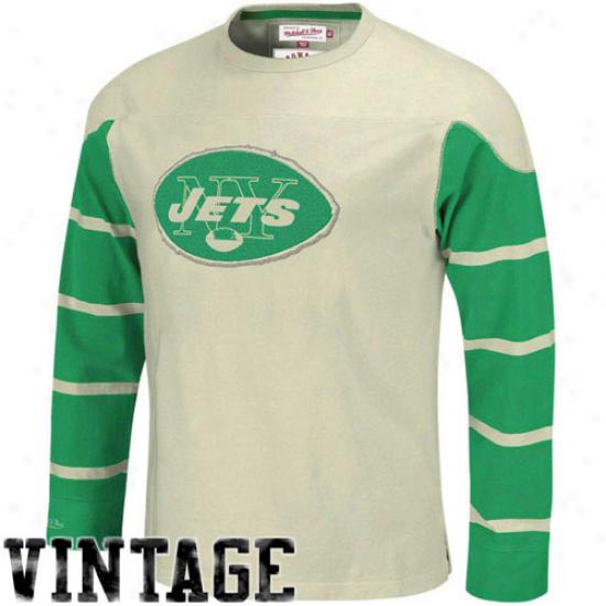 New York Jets Tshirt : Mitchell & Ness New York Jets Cream Gridiron Vintage Lingering Sleeve Tshirt