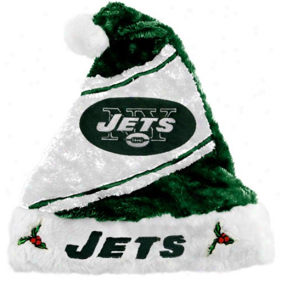 New York Jets White-green Santa Hat