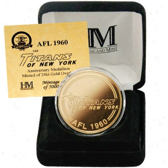 New York Titans Afl 50th Anniversary 24kt Gold Coin