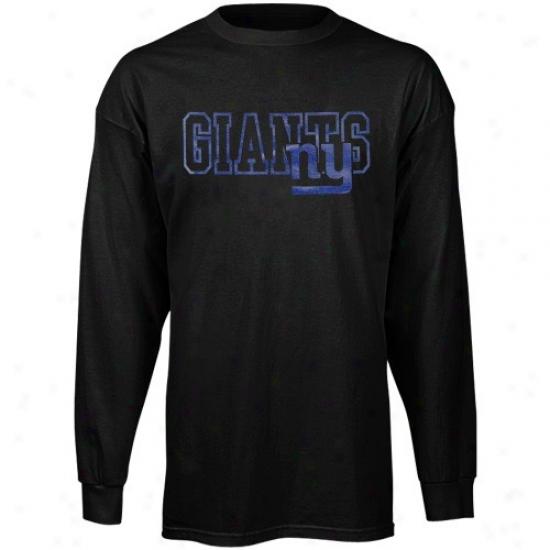 Ny Giant Atttire: Reebok Ny Giant Black Fashion Long Sleeve T-shirt