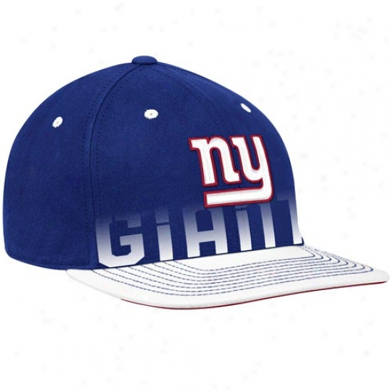 Ny Giant Hat : Reebok Ny Giant Youth Royal Blue Pro Shape Player Flat Brim Flex Hat