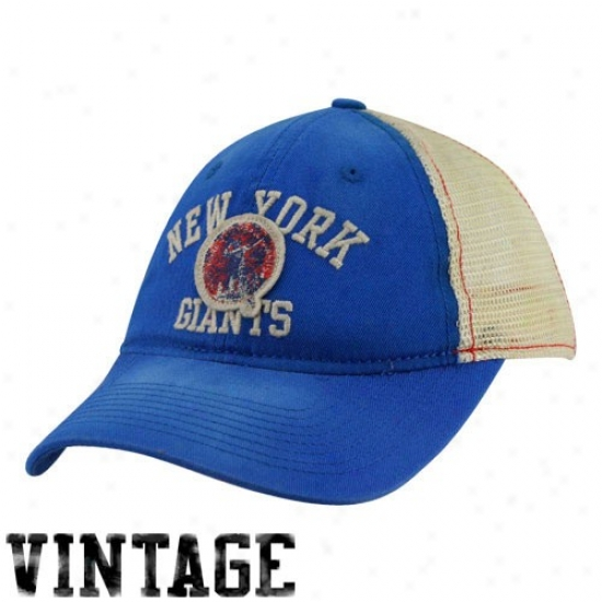Ny Giant Hats : Reebok Ny Giant Ladies Royal Blue-natural Slouch Mesh Back Adjustable Hats