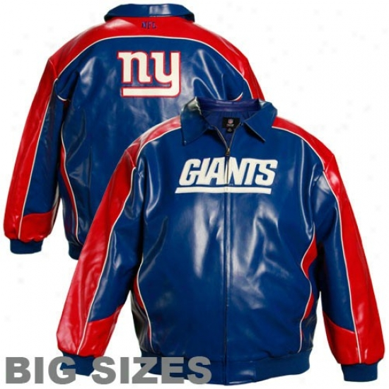 Ny Giant Jackets : Ny Giant Royal Blue Pleather Varsity Big Sizes Full Zip Jackets