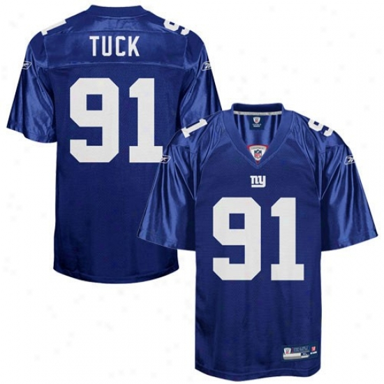 Ny Giant Jerseys : Reebok Nfl Equipment Ny Gian5 #91 Justin Tuck Royal Blue Replica Jerseys
