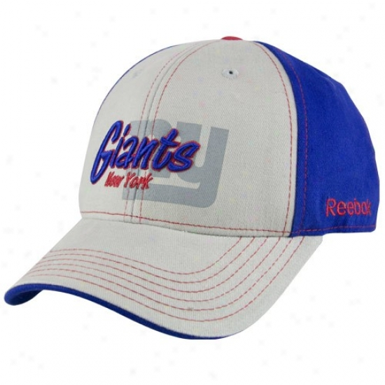 Ny Giant Merchandise: Reebok Ny Giant Gray-royal Blue Tonal Flourisy Adjustable Hat