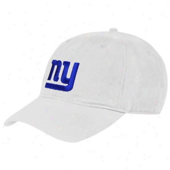 Ny Giant Merchandise: Reebok Ny Giant White Classic Adjustable Slouch Hat