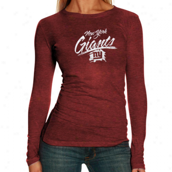 Ny Giant Shirts : Ny Giant Ladies Red Scratched Tri-blend Long Sleeve Shirts