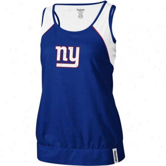 Ny Giant Shirts : Reebok Ny Giant Ladiess Royal Blue Her Fan Premium Tank Top