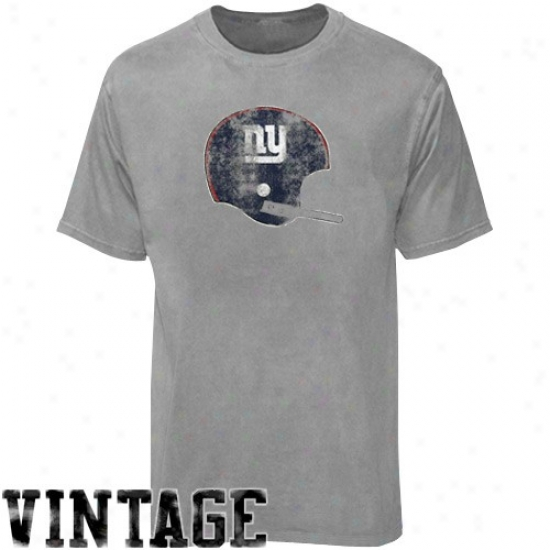 Ny Giant T-shirt : Reebok Ny Giant Youth Ash Sketch Helmet Vintage T-shidt