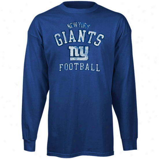 Ny Giant T Shirt : Reebok Ny Giant Young men Royal Melancholy Distressed Football Long Sleeve T Shirt