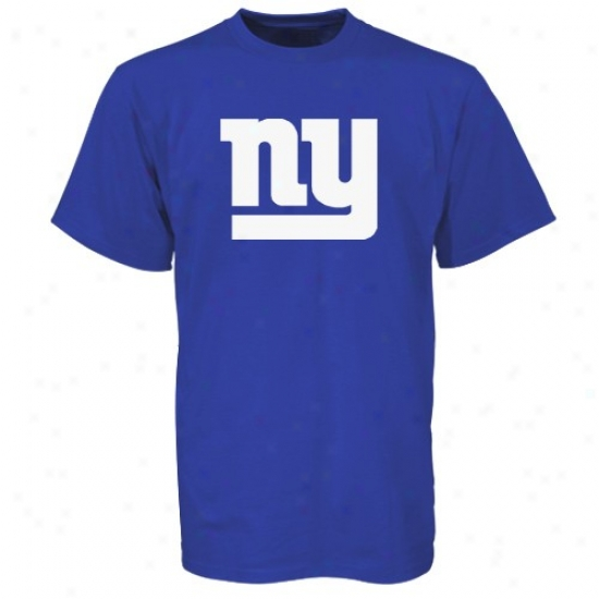 Ny Giants Attire: Reebok Ny Giants Royal Blue Team Logo Print T-shirt