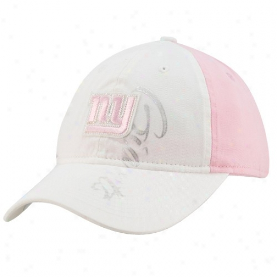 Ny Giants Caps : Reebok Ny Giants Ladies Whie-pink Slouch Adjustable Caps