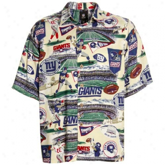 Ny Giants Clothes: Reyn Spooner Ny Giants Cream Scenic Print Hawaiian Button-up Shirt