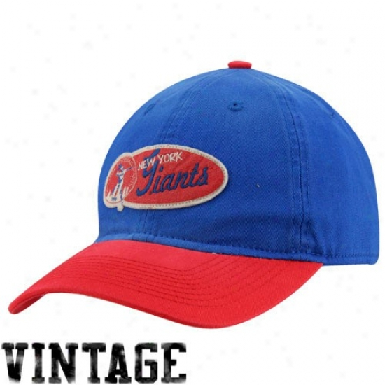 Ny Giants Gear: Reebok Ny Giants Royal Blue-red Retro Two-tone Slouch Adjustable Hat