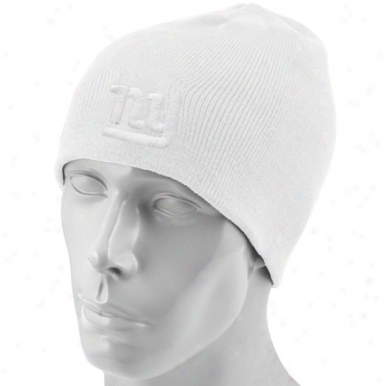 Ny Giants Gear: Reebok Ny Giants White Tonal Knit Beanie