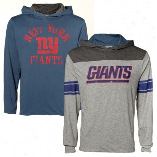 Ny Giants Hoody : Reebok Ny Giants Royal Blue-ash Jersey Regersible Hoody T-shirt