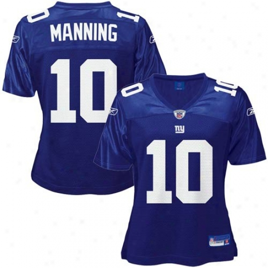 Ny Giants Jersey : Reebok Nfl Equipment Ny Giants #10 Eli Manning Blue Ladies Replica Football Jersey