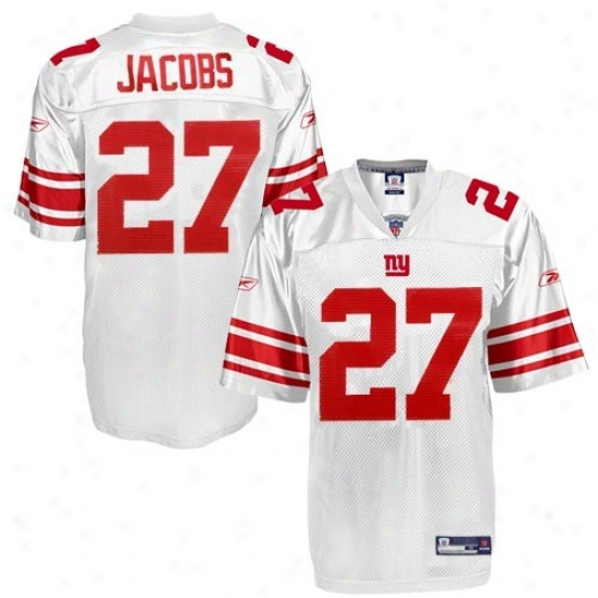 Ny Giants Jersey : Reebok Nfl Equipment Ny Giants #27 Brandon Jacobs Youth White Playdr Replica Jersey