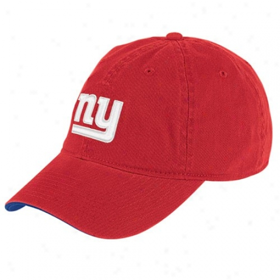 Ny Giants Merchandise: Reebok Ny Giants Red Basic Logo Slouch Hat