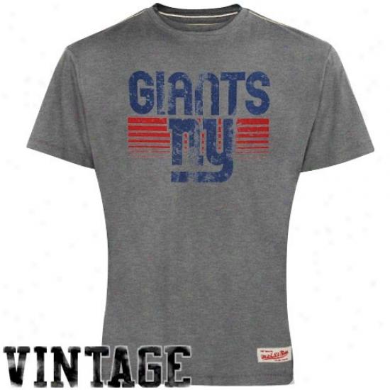 Ny Giants Shirt : Mitchell & Ness Ny Giants Gray Bars Premium Shirt
